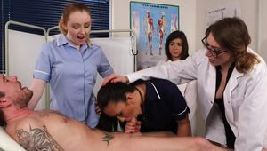 CFNM fetish nurses dominate naked guy
