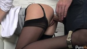 Secretary Fucked By Her Boss, Squirt, Creampie