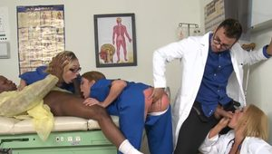 CFNM nurses banged by doctor and patient