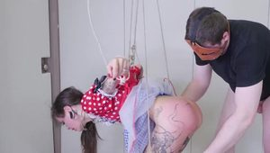 Petite puppet girl strung from ceiling and anally used