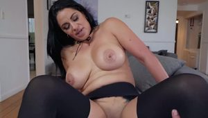 Cristal Caraballo does hj & bj & foot job & gets her black pantyhose ripped to fuck