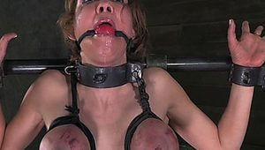 Tit penalized ball gagged bdsm sub punished
