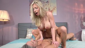 Blonde in sexy stockings Nathaly Cherie gets licked and fucked hard