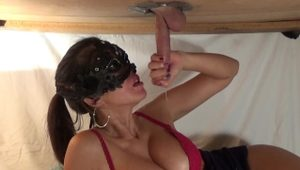 Milking cum from a big cock at gloryhole table