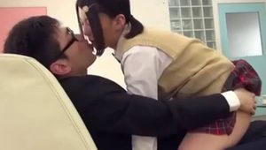 Japanese schoolgirl has sex with shy bf