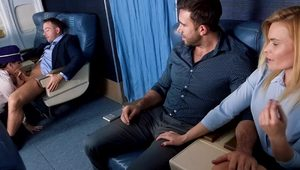 Sneaky Sex stewardess Nikki Knightly sucks a big cock on the knees